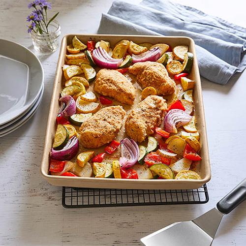 Hähnchen mit Ofengemüse